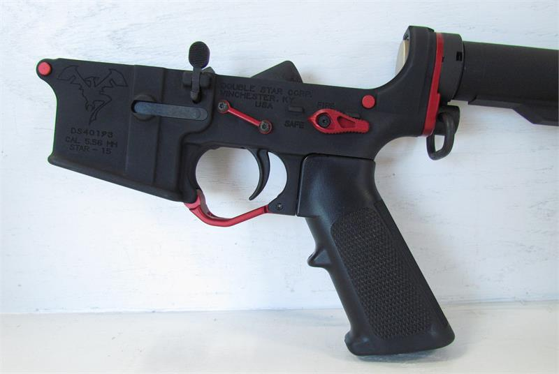 Custom Double Star Ar15 Lower W Lpk Stock Red Accessories
