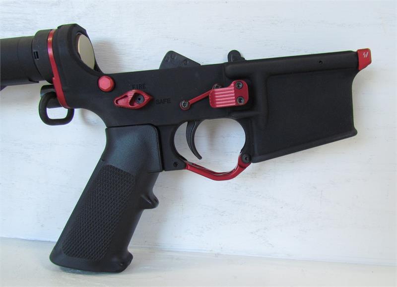 Custom Double Star AR15 Lower w/ LPK, Stock & Red Accessories